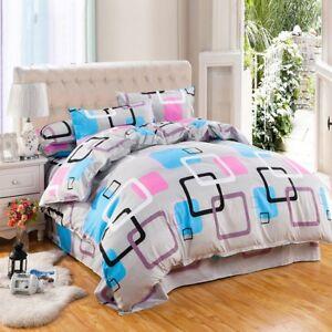 New Gray Printing Bedding Set Duvet Quilt Cover+Sheet+Pillow Case Four-Piece Hot