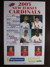 "2005 New Jersey Cardinals Schedule Poster Broadside 11"" x 17"" Mint"