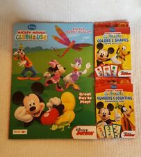 LOT of 3 Disney Mickey Coloring Book & Flashcards #'s & Shapes, Colors  ~NEW~