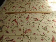 "BRUNSCHWIG & FILS ""BONAIRE"", COTTON FLORAL WITH BIRDS, BY THE YARD"