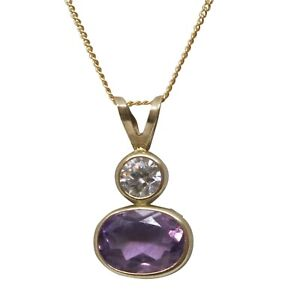 9ct Yellow Gold Drop Two Stones Round White & Oval Purple CZ Pendant and Chain