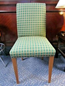 Check Green Fabric Orange Banding and Wood Legs Desk / Dining / Kitchen Chairs