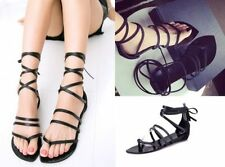 Flat (0 to 1/2 in.) Unbranded Lace Up Solid Sandals & Flip Flops for Women