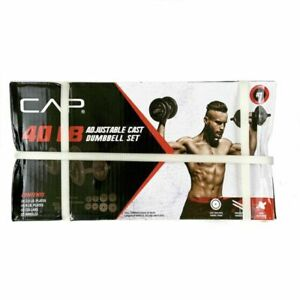CAP RSWB-CS040T 40 Lb Total Adjustable Cast Iron Dumbbell Set - Black