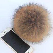 "6.3"" Raccoon Fox Fur Pom Ball Shoes Boots Hat Handbag Charms DIY Snap Button Hat"