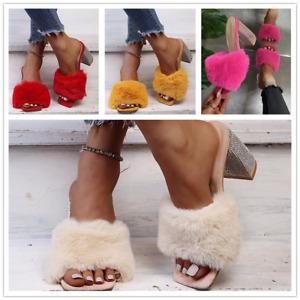 Fashion Women's Furry Rhinestone Casual High Heel Party Open Toe Sandals Shoes