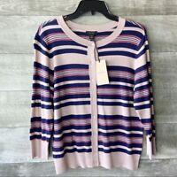 Halogen women's striped knit long sleeve button down sweater cardigan size: SP