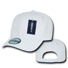WHITE SNAPBACK HAT Plain Blank Solid 6 Panel CURVE BILL Baseball Cap