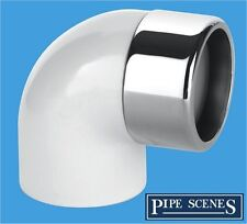 Chrome Waste Pipe 32mm 35mm to Plastic Adaptor Elbow 90° Degree
