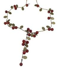 Vintage Sweet Cherry Leaves Cluster Red Beads Long Necklace Chain Pendant