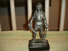 "Vintage Italian Knight In Armor Mounted To Wood Base-8 & 5/8"" Tall-Toy Knight"