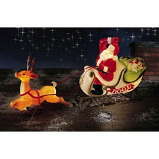 CHRISTMAS  SANTA SLEIGH WITH REINDEER SLED BLOW MOLD YARD DECOR ROOF TOP**NEW**