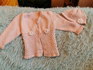 3 - 6 months cardigans with matching hats