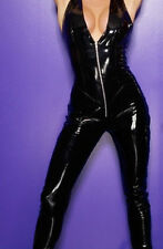 Latex Look Faux Black Glossy Catsuit Jumpsuit Low Front (Faux Latex)