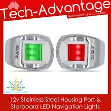 12V STAINLESS STEEL BOAT PORT RED & STARBOARD GREEN NAVIGATION NIGHT LED LIGHTS