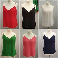 F&F Tie Back Cami Vest Top in Red White Navy Green Black Coral UK Size 6 to 22