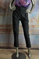 $1045 New STELLA McCARTNEY Black Metallic Boucle Pleated Capris Crop Pants 6 40