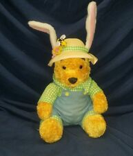 "Easter Farmer Winnie The Pooh Plush Bunny Ears Straw Hat Overalls Disney 10"""