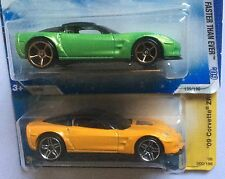 2 Hot Wheels 2009 '09 Corvette ZR1 #135 Green on Snowflake Card #9 Yellow Kmart