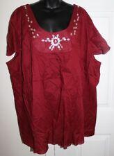 NWOT Mainstreet Blues 4x Red Cap Flutter Sleeve Beaded Blouse Cotton