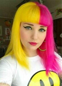 New Long Pink Yellow Straight Cosplay Party Wig Hair