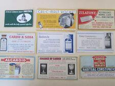 Medicine/Pharmacy 9 ADVERTISING CARDS, all Vintage 9 Salesman CARDS Medicine