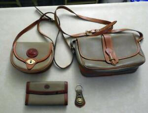 Lot of Dooney & Bourke Khaki All Weather Leather - 2 Handbags, Wallet & Key Fob