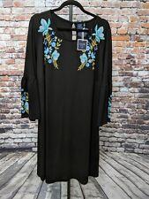 Kaari Blue Women's Plus Black Floral Stretch Bell Sleeve Knit Dress Size 2X NEW