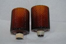 "Vtg Amber Glass Votive Cups (2) 2 3/4"" Round Diamond Point Decorama Dallas Texas"