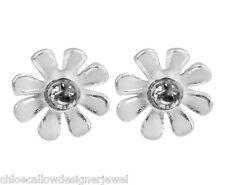 1x Pair of 925 Sterling Silver Flower Ear Studs Crystal + White Enamel Earrings
