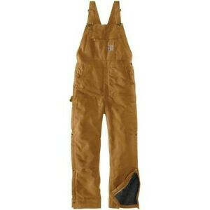 Carhartt Mens 104393 5XL Firm Duck Quilt Lined Insulated Bib Overalls Brown NWT