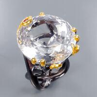 Quartz Ring Silver 925 Sterling Big 50ct+ IF Gemstone Size 8 /R135481