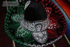"Authentic Mexican Mariachi-Sombrero Charro Hat Adult 18.5"" Black/Grn/Red/Silver"