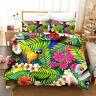 3D Tropical Floral Bird Quilt Cover Set Pillowcases Duvet Cover 3pcs Bedding