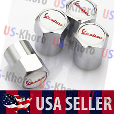 Vespa Logo Valves Stems Caps Covers Chromed Wheel Roundel Auto Tire Emblem USA