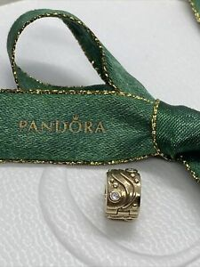Pandora 14ct Gold Clip with Diamond Babbling Brook Genuine 750418D Ale retired