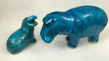 Blue Hippopotamus William and Baby Metropolitan Museum of Art Figurine Ceramic