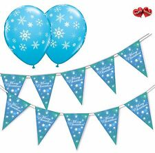 Christmas Bundle Snowflake Blue Bunting Banner 15 flags & 8 Asst latex balloons