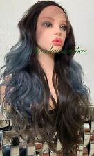 pastel lace front wig Light Purple Dark Brown Ombré Wavy Layered Heat Ok Long