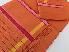 Italian Single Size Bed Set Linen 100% Cot.160x295cm Pillow Case 3 Volan Orange