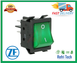 ZF Green Rocker Switch On Off DPST 16A 240v / 250V 10A operating T -20  +65°C