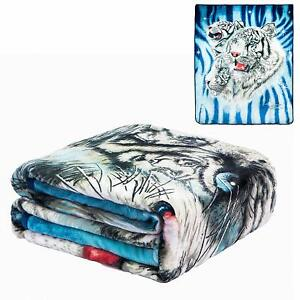 JPI Signature Collection 9 White Tigers Queen Size FLANNEL Blanket Faux Mink