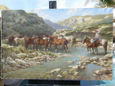 HORSES WATERHOLE LARGE OIL CANVAS ORIGINAL PAINTING RUSSIAN SIGNED LISTED ARTIST