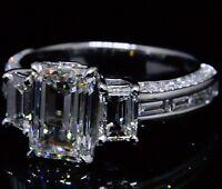 2.60 Ct. Three Stone Emerald w/ Round & Baguette Cut Diamond Engagement Ring GIA