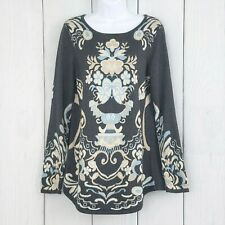 CHARTER CLUB sz Medium Gray Ivory Floral Long Sleeve Pullover Tunic Sweater Blue