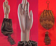 Victorian Antique Brown Knit Bronze Beaded Tassel Drawstring Reticule Purse Vtg