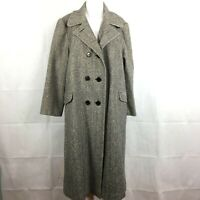 Arlette Womens Gray Wool Tweed Long Coat Sz 12 Herringbone