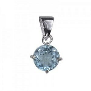 NEW Genuine Solid 925 Sterling Silver Natural Blue Topaz Ladies Pendant