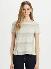 MARC by MARC JACOBS Sketch Stripe Cotton/Linen Tee Top Violet Cream M NWT$128