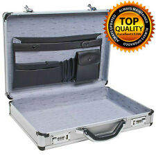 Aluminum Laptop Briefcase Silver 17 Business Lock Attache Case Brief Pockets New